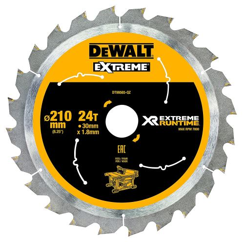 DeWalt XR Extreme Runtime Lame de scie circulaire statique, 1 pièce, 210/30 mm 24 WZ/FZ, dt99565 de QZ