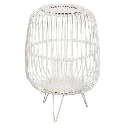 Lanterne en bambou Eté Indien - H. 36 cm - Blanc