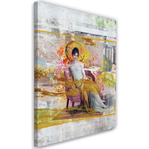 Feeby Tableau toile Image Décoration murale, Dame dans une chaise 50x70 cm