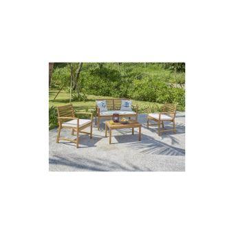 Finlandek - Salon De Jardin 4 Places En Acacia - Ecru - Loma ...