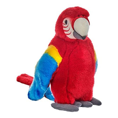 Peluche Lelly National Geographic, perroquet tropical rouge