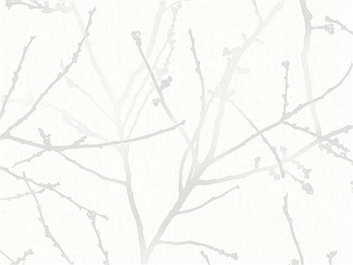 Paier peint vinyle grainé intissé motif branche 10x0.52m INNOCENCE Blanc
