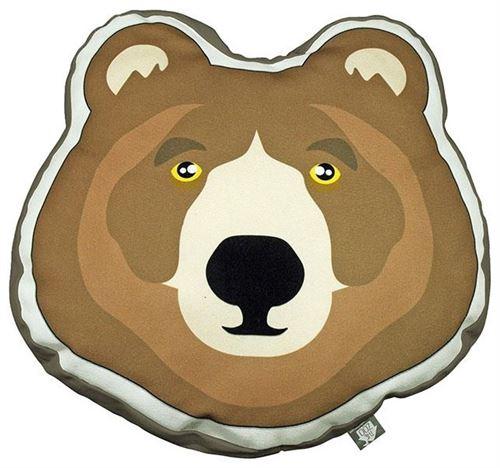 The Zoo coussin Brown Beardécoratif junior 40 x 40 cm textile marron