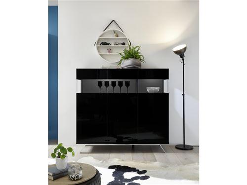 SUBLEEM Buffet 3 portes ENNA Noir laqué brillant