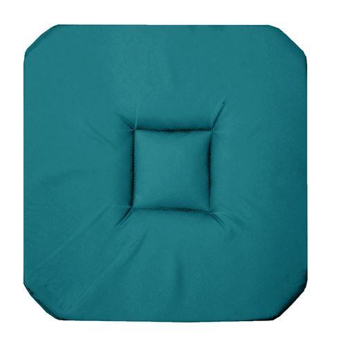 Galette 4 rabats 36 x 36 x 3.5 cm coton uni panama Bleu