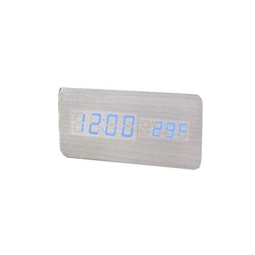 Commande Vocale Calendrier Thermomètre Numérique Led Alarme Horloge en Bois Usb / Aaa Blanc PL192