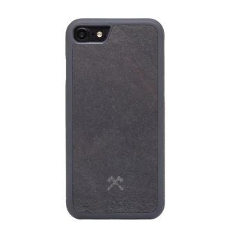 Woodceories EcoBump Bumper Case Stone Coque de protection pour telephone portable silicone pierre ardoise noir volcan pour Apple iPhone 7 8