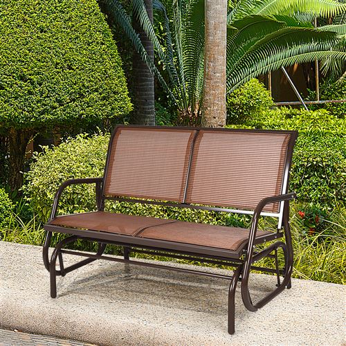 fauteuil à bascule giantex brun 123,5 cm x 71 cm x 87 cm avec 2 places en textilène pour extérieur