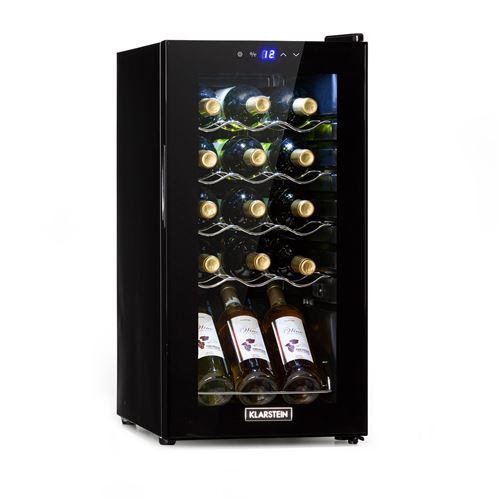 Klarstein Shiraz 15 Slim Uno, Cave à vin réfrigérée compacte 44 L / 15 bouteilles, classe G - Noire