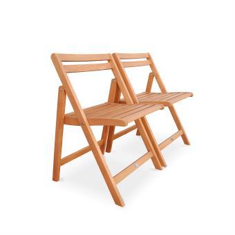 Salon de jardin en bois pliable Merida, 100x82cm - Alice\'s ...