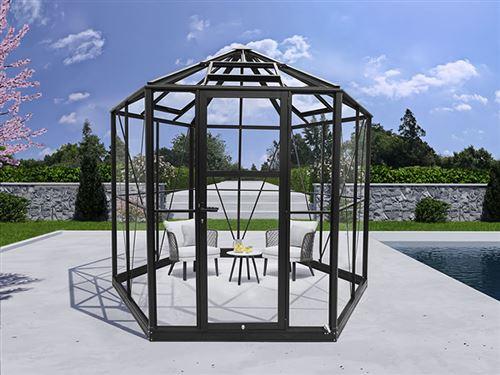 Kiosque de jardin en verre hexagonale 7,2m², 3,04x2,63x2,73m avec socle, Noir