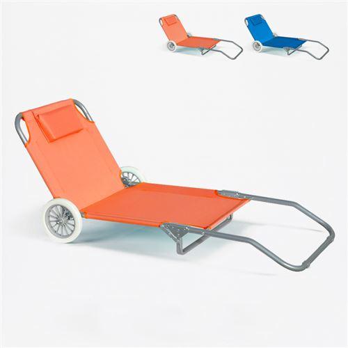 Lit de plage pliant bain de soleil transat piscine portable roues BANANA, Couleur: Orange