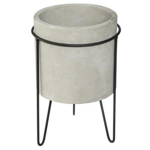 Cache-Pot en Ciment sur Pied Oléa 17cm Gris