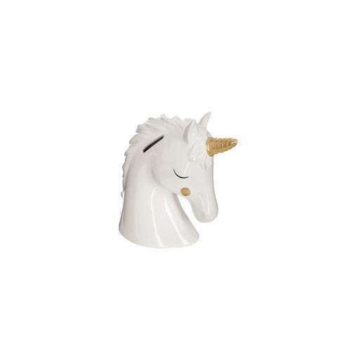 Tirelire - Tête de licorne - H 15,5 cm - Dolomite - Blanc