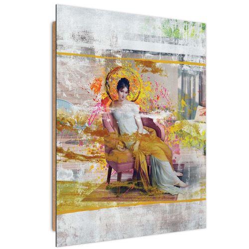 Feeby Panneau décoratif Tableau mural Art moderne, Dame dans une chaise 40x60 cm