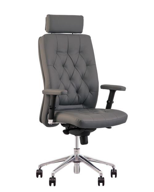 Chester fauteuil de direction professionnel multiposition synchrone, capitonné, vintage gris
