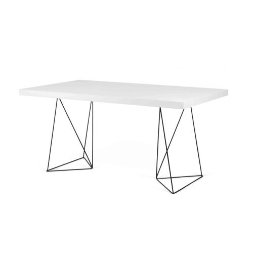 Bureau en bois blanc à tréteaux noirs - BU0007