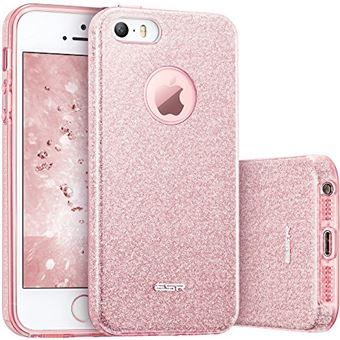 ESR Coque pour iPhone SE 5s 5 Coque Silicone Paillette Stra Brillante Glitter de Luxe Bumper Houe Etui de Protection Anti Choc pour iPhone 5 5s SE Rose Paillete