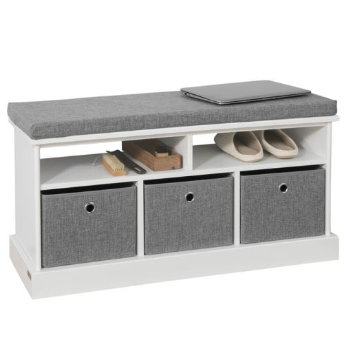 SoBuy® FSR67-HG Banc de Rangement avec Coussin Rembourré, 2 Compartiments et 3 Paniers Meuble Bas Entrée Meuble d'Entrée Commode à Chaussure Banquette Confortable