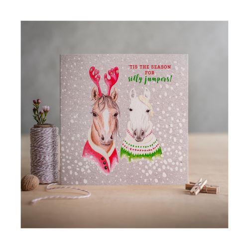Deckled Edge - Carte de Noël (Taille unique) (Tis The Season For Silly Jumpers - Christmas Ponies (Argentée)) - UTBZ1510