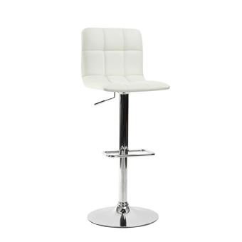 Tabouret Bar Chaise Haute Reglable Simili Blanc