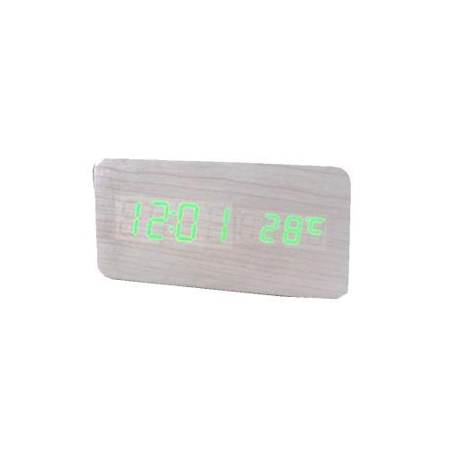 Commande Vocale Calendrier Thermomètre Numérique Led Alarme Horloge en Bois Usb / Aaa Blanc PL193