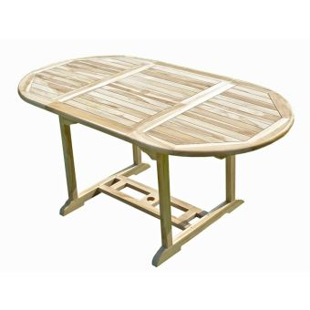 Table de jardin ovale en teck extensible 110-170 x 90 JAMBI ...
