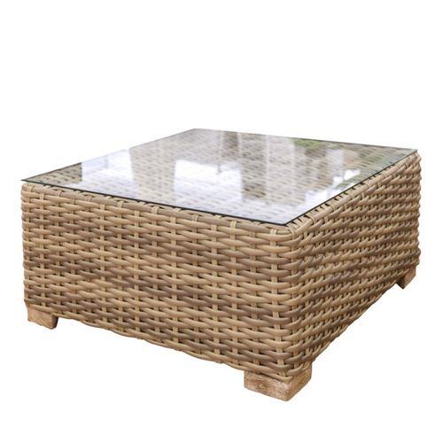 Table de salon de jardin carrée 80cm en résine tressée plateau en verre SANTA CRUZ
