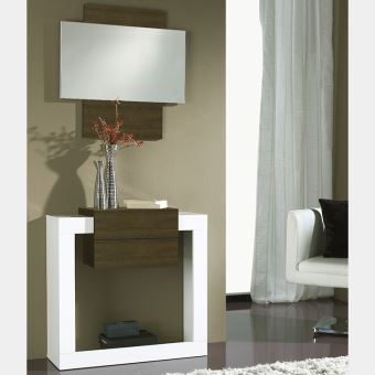 Meuble d\'entrée moderne blanc et couleur chêne SAVOCA 4 - L 80 x P 29,6 x H  78,3 cm