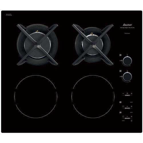 Sauter SPI6414BM - Table de cuisson mixte induction et gaz - 4 plaques de cuisson - Niche - largeur : 56 cm - profondeur : 49 cm - noir