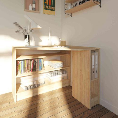 Bureau d'angle en bois effet naturel avec niche de rangement - BU6009