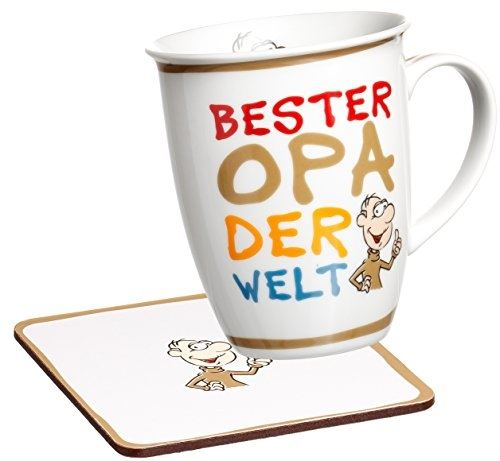 Ritzenhoff & breker 035995 lot de 2 tasses à café avec inscription en allemand bester opa der welt grand-père du monde et sous-t