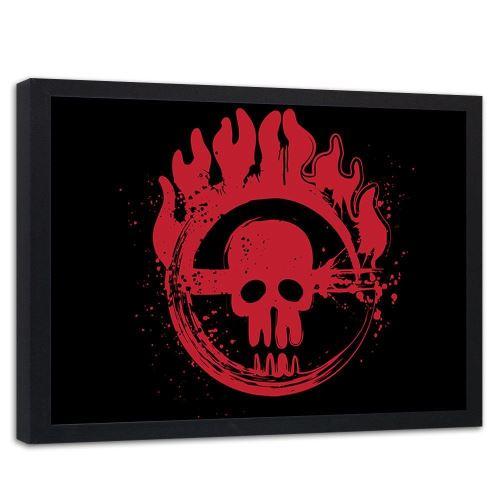 Feeby Image encadrée décorative Tableau cadre mural noir, Crâne rouge enflammé 100x70 cm