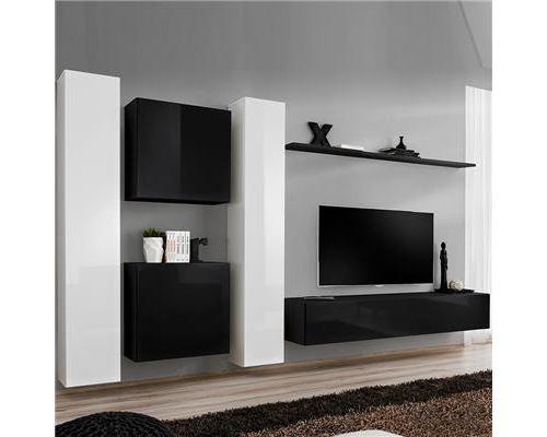Meuble tele suspendu blanc et noir ALBA-L 330 x P 40 x H 180 cm- Noir