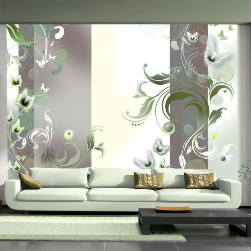 400x280 Papier peint Motifs floraux Fonds et Dessins Moderne Green passion