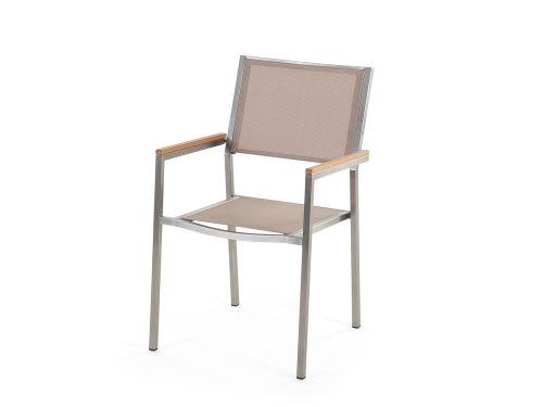Beliani - Table de jardin acier inox - plateau simple en granit noir poli  180 cm avec 6 chaises en textile beige - Grosseto