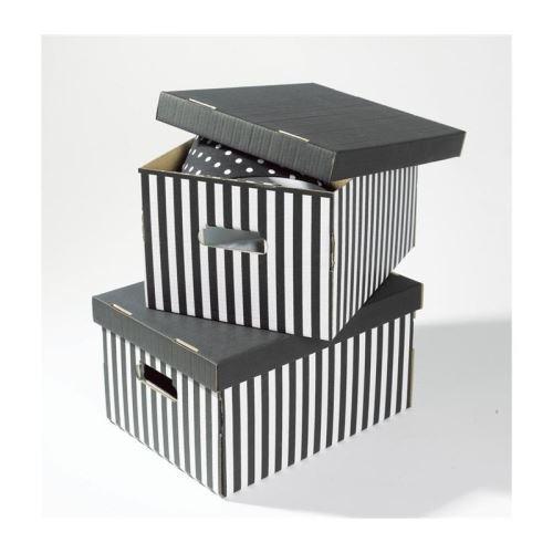 SHIRT Lot de 2 boîtes de rangement rayées noir