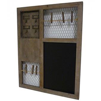 L\'Héritier Du Temps - Ardoise murale tableau noir lavable mémo pense bête  porte clés porte photos en bois grillagée 3x50x66cm