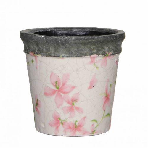L'Héritier Du Temps - Petit cache pot etanche style champêtre aux motifs floraux roses en terre cuite emaillée 10,5x11,5x11,5cm