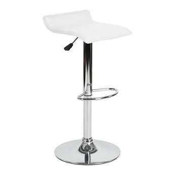 design intemporel 90202 5ef82 Tabouret Bar Réglable Pivotant PVC Blanc Chromé