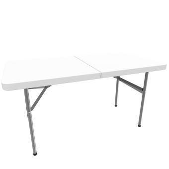 Todeco - Table Pliante Transportable, Table en Plastique Robuste, 122 x 61  cm, Blanc, Pliable en deux, Matériau: HDPE