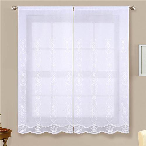 Paire de vitrages brillants - blanc - 2x60x120cm