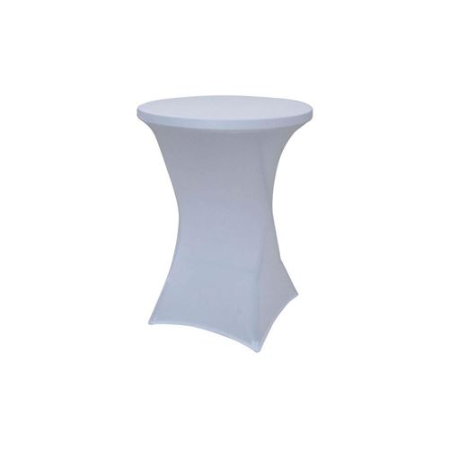 Housse Pour Table Ronde Type Table Bar - Blanc