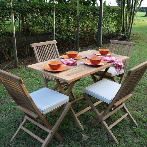 Salon de jardin en teck Ecograde Makassar, table pliante 120 x 70 cm + 4  chaises Java