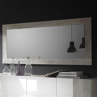 Miroir mural contemporain couleur pin blanc design ROME - L 170 x P 2 x H  75 cm