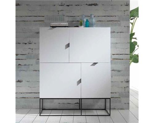 Buffet haut design blanc laqué EMILIA - L 120 x P 41 x H 150 cm