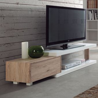 Meuble Tv Scandinave Blanc Et Bois Nils L 160 X P 35 X H 35 Cm