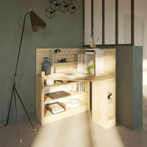 Bureau d'angle en bois coloris naturel avec niche de rangement - BU6011