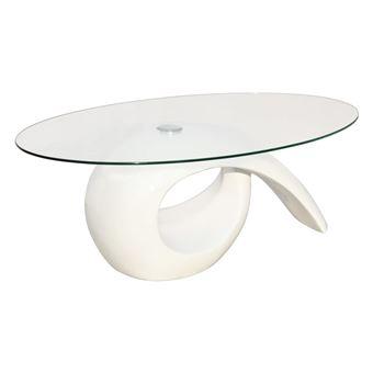 Vidaxl Table Basse Avec Dessus De Table En Verre Ovale Blanc