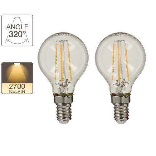 Lot de 2 ampoules LED P45 - cuLot E14 - retro-LED